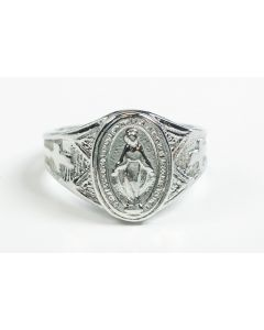 Sterling Silver Miraculous Medal Mens Ring  - Size 10