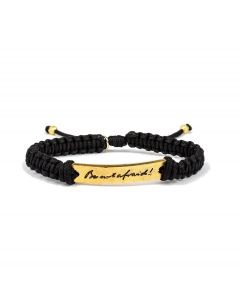 St. Pope John Paul II Be Not Afraid Bracelet - Black Cord w/ Gold-Tone Medals