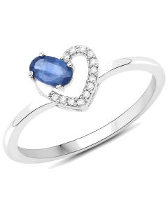 Genuine Oval Blue Sapphire and Diamond Ring in 14k White Gold - Size 7.00
