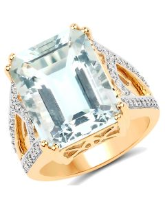 Genuine Octagon Aquamarine and Diamond Ring in 14k Yellow Gold - Size 7.00
