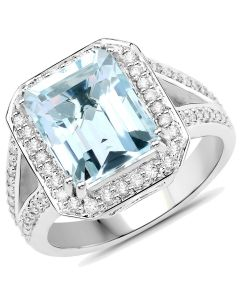 Genuine Octagon Aquamarine and Diamond Ring in 14k White Gold - Size 7.00