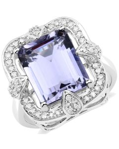 Genuine Octagon Iolite and Diamond Ring in 14k White Gold - Size 7.00