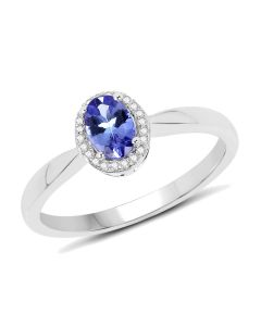 Genuine Oval Tanzanite and Diamond Ring in 14k White Gold - Size 8.00