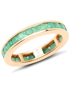 Genuine Round Emerald Ring in 14k Yellow Gold - Size 7.00