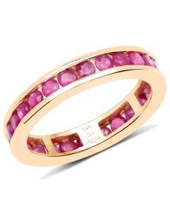 Genuine Round Ruby Ring in 14k Yellow Gold - Size 7.00