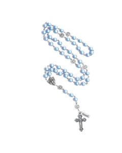 Rosary of Love - Silver-Tone Swarovski Light Blue Pearl Rosary