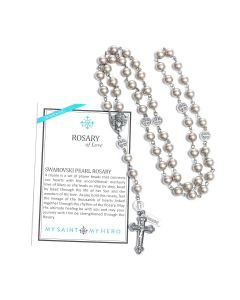 Rosary of Love - Silver-Tone Swarovski Platinum-Color Pearl Rosary