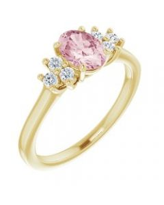14k Yellow Gold Morganite & 1/5 CTW Diamond Ring - Size 7