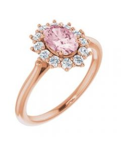 14k Rose Gold Morganite & 1/3 CTW Diamond Ring - Size 7