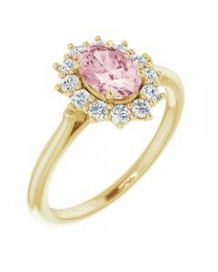 14k Yellow Gold Morganite & 1/3 CTW Diamond Ring - Size 7