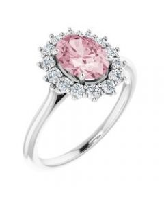 Morganite Platinum Mozambique & 3/8 CTW Diamond Ring - Size 7