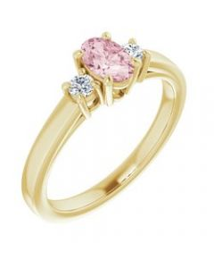 14k Yellow Gold Morganite & 1/8 CTW Diamond Ring - Size 7