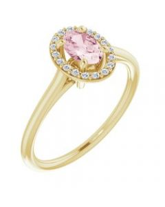14k Yellow Gold Morganite & 1/10 CTW Diamond Ring - Size 7